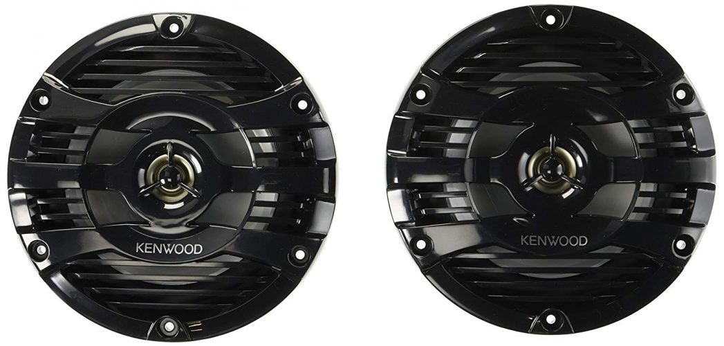 "Kenwood 6.5"" Black Marine 2 Way Speakers 150 Watts - marine speakers"