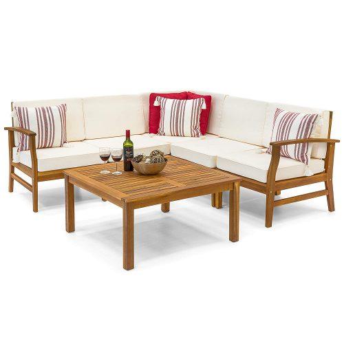 Best Choice Products 6-Piece Acacia Wood L-Shape Sectional Sofa Set - Corner Sofa (L shape sofa)