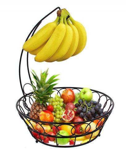 ESYLIFE Wire Fruit Bowl with Banana Hanger Fruit Storage Basket