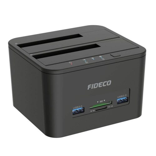 "Hard Drive Docking Station, FIDECO USB 3.0 HDD Docking Station Dual-Bay External Hard Drive Docking with Offline Clone/Duplicator Function for 2.5"" & 3.5"" SATA HDD SSD, Support TF & SD Card (2x 10TB)"