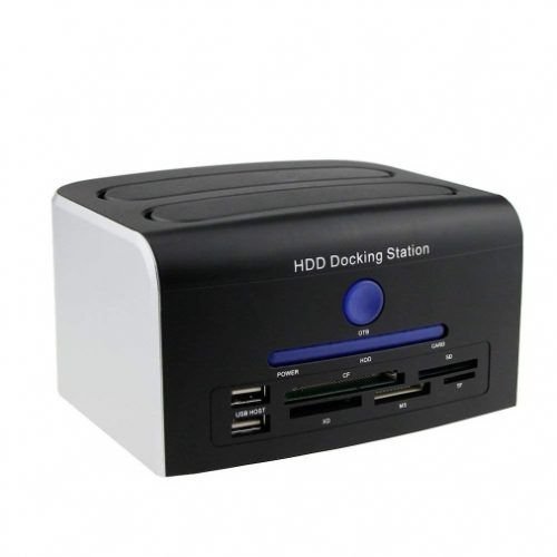 "Awolf HDD Docking Station, Multi-Function External Hard Drive Docking Station for 2.5"" 3.5"" IDE SATA 8 TB Hard Disk with One Touch Backup(OTB), Support XD/MS/TF/CF/SD Card"
