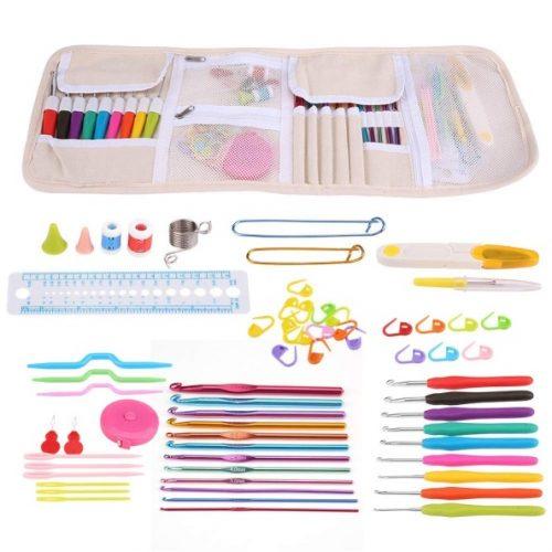 Crochet Hooks Set with Case, Ergonomic Handle Crochet Hooks Needles Set Sewing Knitting Tools