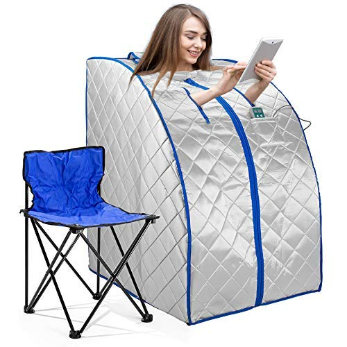 Infrared FAR IR Negative Ion Portable Indoor Personal Spa Sauna by Durham with Air Ionizer, Heating Foot Pad and Chair, 30 Minutes Timer, Large, Silver