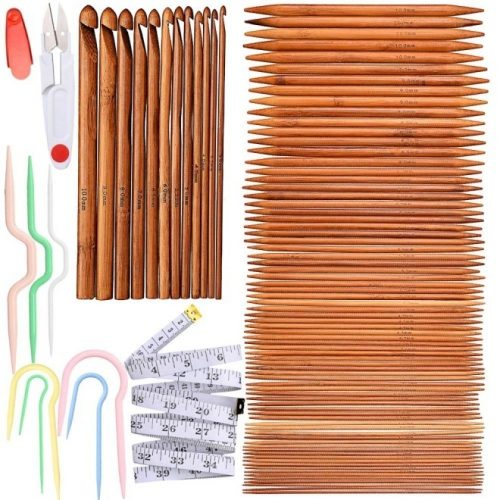Exquiss Knitting Needles Set-75 Pcs 15 Sizes Bamboo Double Pointed Knitting Needles Set + 12 Pcs 12 Sizes Crochet Hooks Set + 4 Pcs 4 Sizes Cable Needles + 3 Pcs 3 Sizes Cable Stitch Holders
