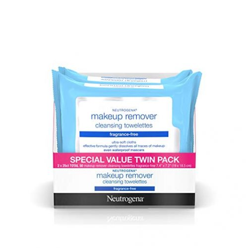 Neutrogena Cleansing Fragrance-Free Makeup Remover Facial Wipes, 25 Count, 2 Packs