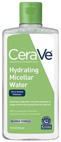 CeraVe Micellar Water & Makeup Remover/Hydrating Facial Cleanser & Eye Makeup Remover w Hyaluronic Acid to Remove Foundation Makeup, Waterproof Mascara, Dirt & Oil, 10 Fl Oz