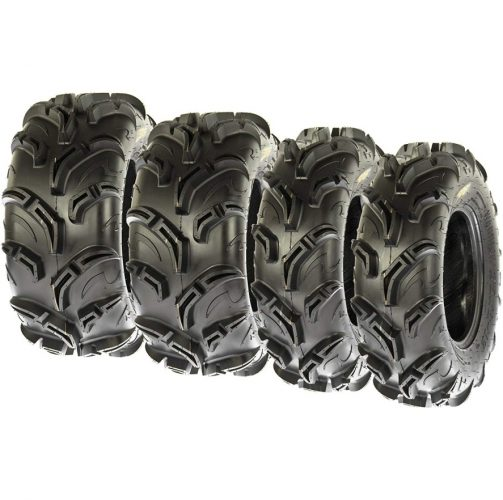 Set of 4 SunF Warrior AT Mud & Trail 27x9-12 Front & 27x11-12 Rear ATV UTV Off-Road Tires, 6 PR, Tubeless A048