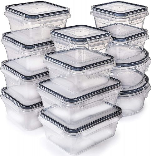 [12-Pack] Food Storage Containers with Lids - Plastic Food Containers with lids - Plastic Containers with lids - Airtight Leak-Proof Easy Snap Lock and BPA Free Plastic Container Set for Kitchen Use