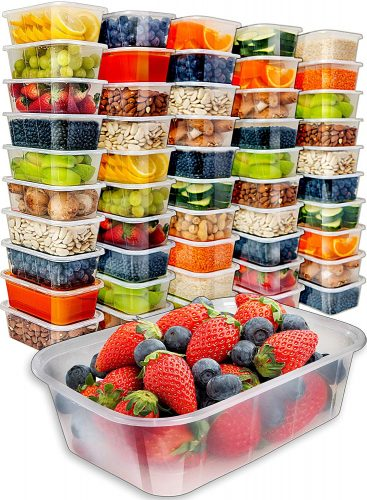 [50pk, 25oz] Food Storage Containers with Lids - Food Containers Meal Prep Plastic Containers with Lids Food Prep Containers Deli Containers with Lids Freezer Containers with lids Disposable Containers