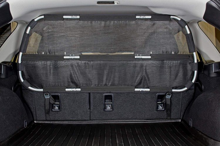 Bushwhacker - Paws n Claws Cargo Area Dog Barrier for CUV & Mid-Sized SUV - Hatchback Pet Divider Crossover Vehicle Car-Net Mesh Travel Back Seat Safety Partition Universal Gate Restraint Fence Trunk