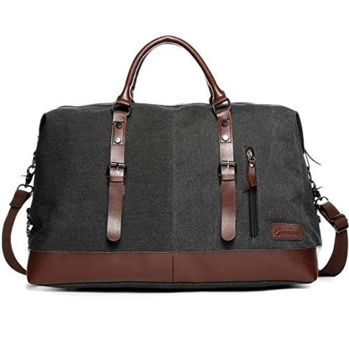 Canvas Overnight Bag Travel Duffel Genuine Leather - Weekender Bags For Women