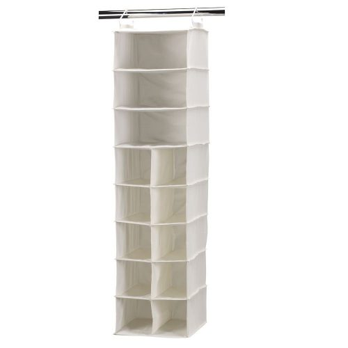 Household Essentials 10 Pocket Hanging Shoe Storage Organizer and 3 Shelf Sweater Organizer, Natural Canvas, white