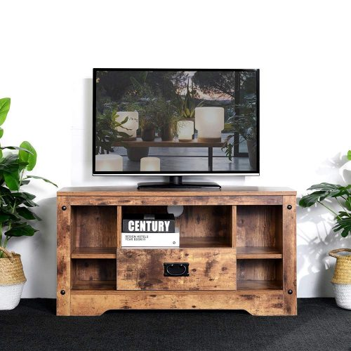 "Aingoo Small Corner TV Stand Table 35.4 Inch Rustic Entertainment Center with Drawer Farmhouse (Holds Up to 37"")"
