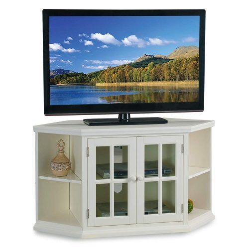 "Leick Riley Holliday 46"" Corner TV Stand with Bookcases in White"
