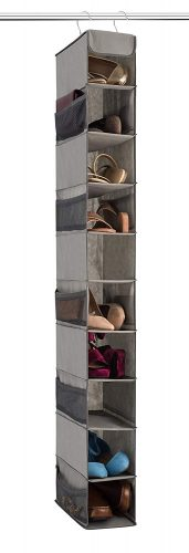 Zober 10-Shelf Hanging Shoe Organizer, Shoe Holder for Closet - 10 Mesh Pockets for Accessories - Breathable Polypropylene, Gray - 5 x 11.5-inch x 52 inch