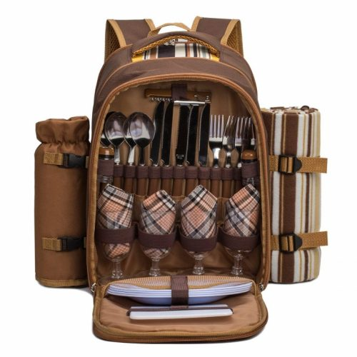 """APOLLO WALKER TAWA Picnic Backpack Bag for 4 Person with Cooler Compartment, Wine Bag, Picnic Blanket (45""""x53""""), Best for Family and Lovers Gifts (Coffee)"""