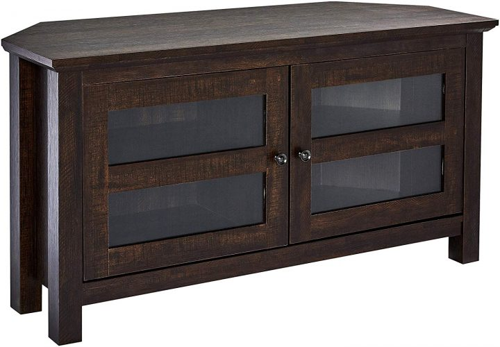 Rockpoint Adonia Wood Corner TV Stand Media Console, 44-Inch - Dark Chocolate