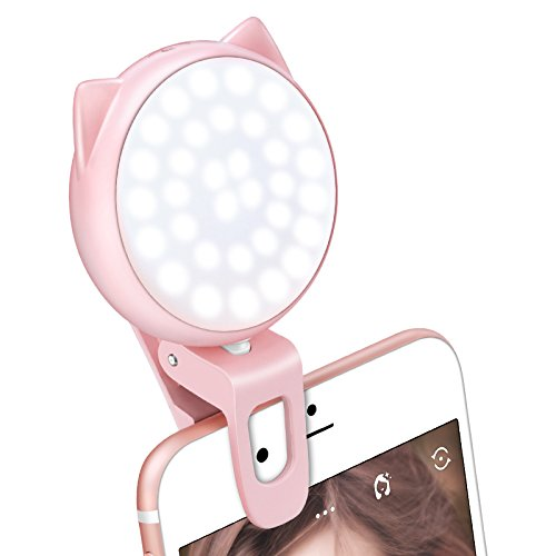 Selfie Ring Light for Camera, OURRY Clip-On [Rechargeable Battery] Selfie LED Camera Light [32 LED] Compatible with iPhone, iPad, Samsung Galaxy, Photography Phones, Tablet, Laptop (Pink)
