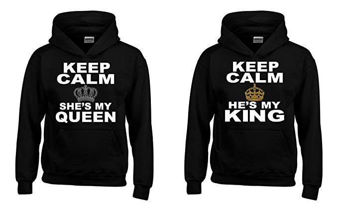 Shop4Ever Keep Calm She's My Queen - He's My King Couples Matching Hoodie Sweatshirts