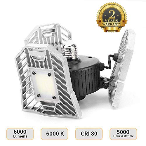 LED Garage Ceiling Light - Indoor Deformable Light 6000LM, 60W Garage Ceiling LED Lights, LED Light Bulbs, High Intensity Mining Lamps, Working Light (NO Motion Activated)