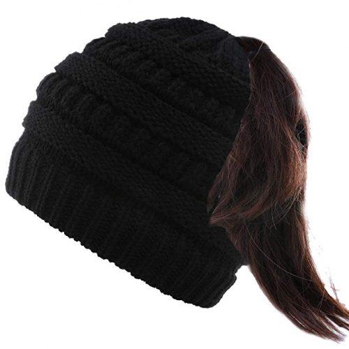 Valpeak Soft Messy Bun Beanie Hat Womens Beanie Ponytail Stretch Cable Knit Bun Hat