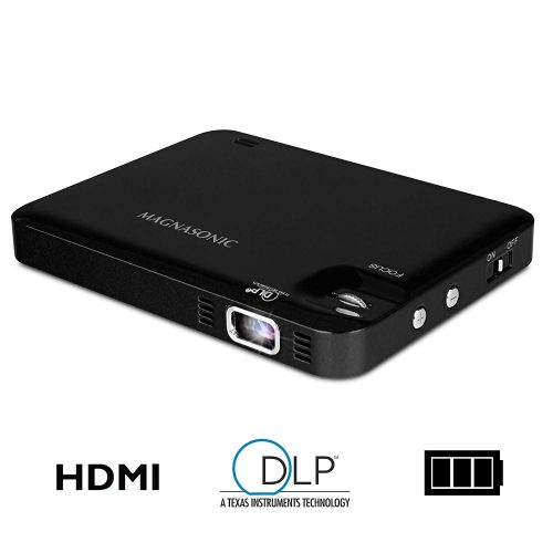 Magnasonic LED Pocket Pico Video Projector, HDMI, Rechargeable Battery, Built-in Speaker, DLP, 60-inch Hi-Resolution Display for Streaming Movies, Presentations, Smartphones, Tablets, Laptops (PP60)