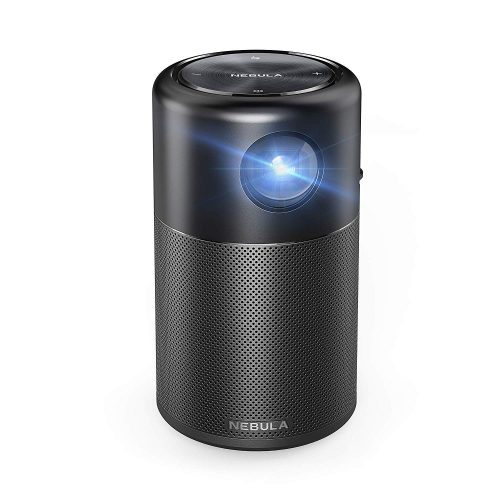"Nebula Capsule Smart Mini Projector, by Anker, Portable 100 ANSI lm High-Contrast Pocket Cinema with Wi-Fi, DLP, 360° Speaker, 100"" Picture, Android 7.1, 4-Hour Video Playtime, and App"