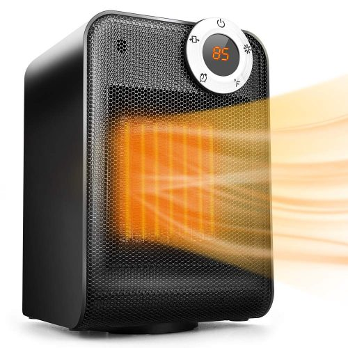 TRUSTECH Portable Space Heater, Adjustable Thermostat, 1500W, Overheat & Tip-Over Protection, Oscillation Function Office Home Use, 12H Timer, Digital Display, Ceramic, Black