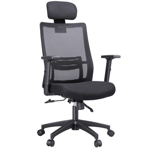 Yaheetech Swivel Ergonomic/Executive/Reclining Office Chair with Lumbar/Back Support Adjustable Arms/Head-Rest High-Back Mesh Computer Desk/Gaming Chair Black