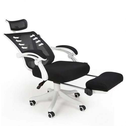 Hbada Reclining Office Desk Chair | Adjustable High Back Ergonomic Computer Mesh Recliner | White Home Office Chairs with Footrest and Lumbar Support