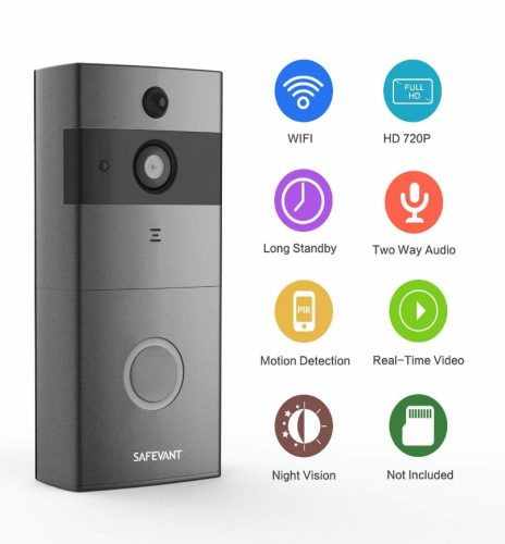 Doorbell Wireless, Safevant Smart Doorbell with PIR Motion Detection,720P Doorbell Camera, Real-Time Video and Two-Way Talk, Night Vision, Phone Ring, Free APP, Only Support 2.4GHZ, Gray