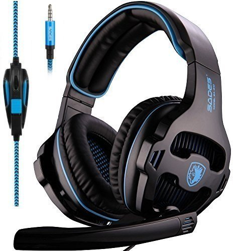Sades SA810 Gaming Headset Single 3.5mm Jack Over Ear Gamer Headphones with Microphone and PC Adapter for New Xbox One/PS4/PlayStation 4 Laptop Phone-Black Blue