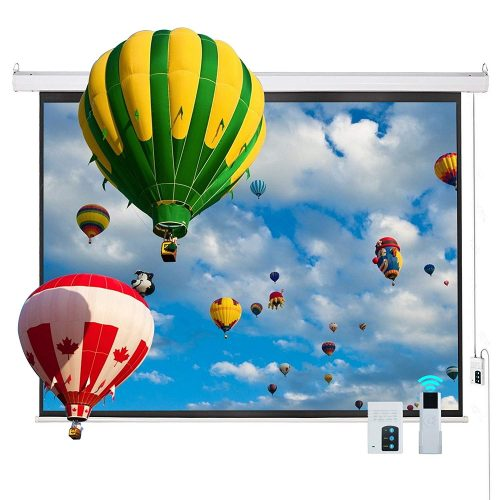 "Cloud Mountain Electric Projector Screen 100"" 4:3 Motorized Wall Mounted Ceiling Projector Screen Drop Down Projection Screen HD Home Theater"