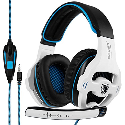 Gaming Headset Xbox One, SADES SA810S Stereo Over-Ear Noise Isolation Bass Gaming Headphones with Microphone for PS4 Laptop PC Mac Computer Smart Phones –White