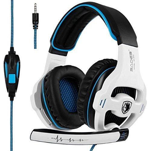 SADES SA810 Over-Ear Stereo Gaming Headset with Mic Bass Volume Control for Xbox One PS4 PC PC Laptop [White & Black]