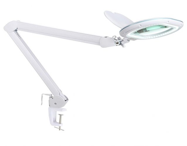 Brightech LightView PRO XL LED Magnifying Desk & Table Clamp Lamp– Bright Magnifier Light- 5-Diopter Rectangular Shaped Lens & 2.25X Magnification– Dimmable Utility Light- Task Craft or Workbench –Whi