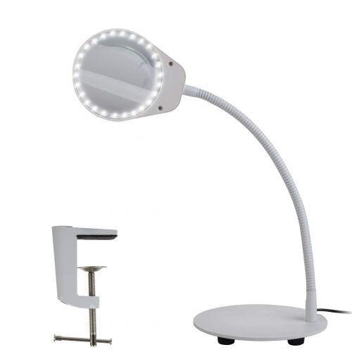 Tomsoo Dimmable 5X Magnifying Lamp - 2 in 1 Magnifier Desk Lamp LED Reading Light With Utility Clamp, Magnifying Glass Lens With Light, Task Lamp for Reading, Crafts, Hobbies, Repair, Workbench, White