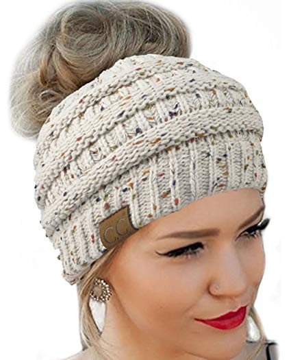 FENGGE Messy Bun Hat Quality Knit Soft Stretch Winter Warm Cable Knit Fuzzy Lined Ear Warmer Headband