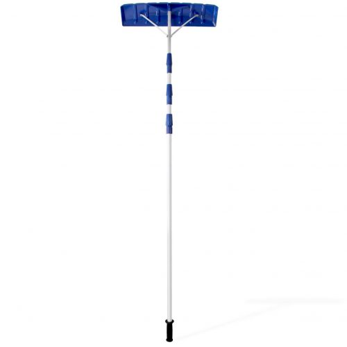 """Ohuhu 21 FT Adjustable Snow Roof Rake, Twist-N-Lock Telescoping Snow Rake for Roof with 6"""" X 25"""" Poly Blade, Snow Shovel for Cleaning Roof Snow, Blue"""