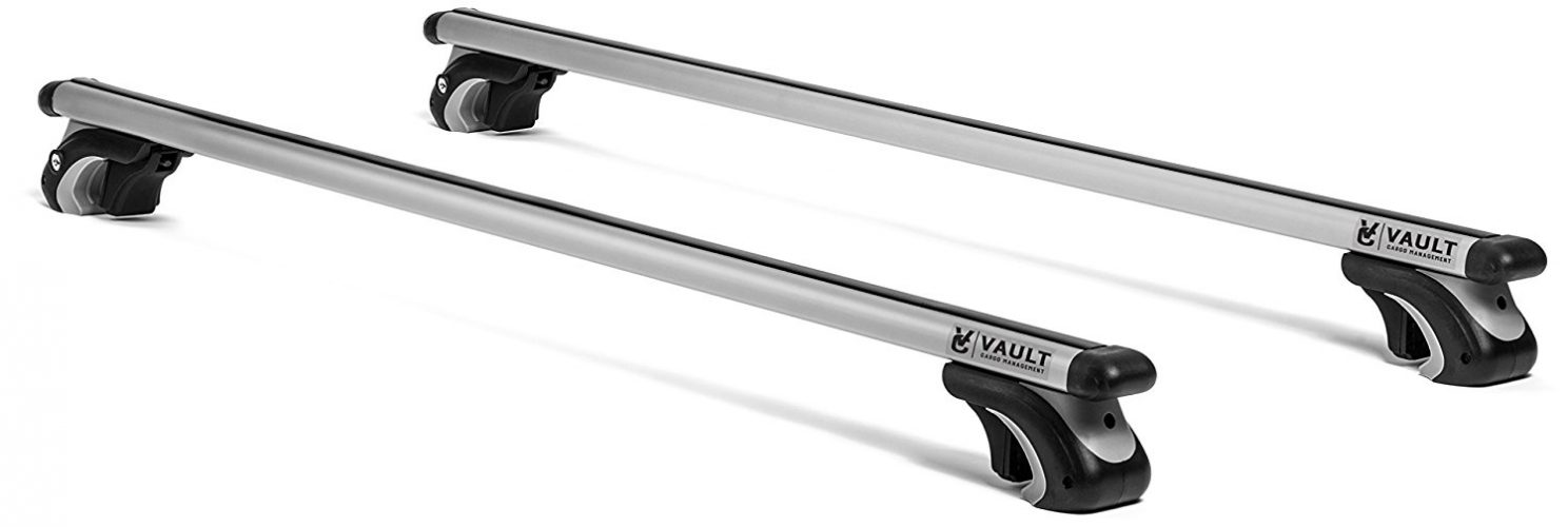 "Roof Rack Crossbars 54"" Universal Locking Crossbars by Vault - Carry Your Canoe, Kayak, Cargo Safely with Aerodynamic Design - Mounts to The Rooftop of Your Car or SUV 