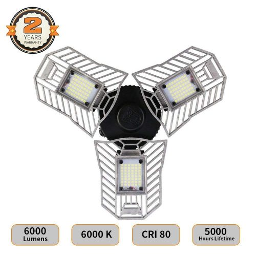 LED Garage Lights, Deformable LED Garage Ceiling Lights 6000 Lumens, 60W CRI 80 Led Shop Lights for Garage, Garage Lights with 3 Adjustable Panels, Utility Led Garage Lighting (No Motion Activated)