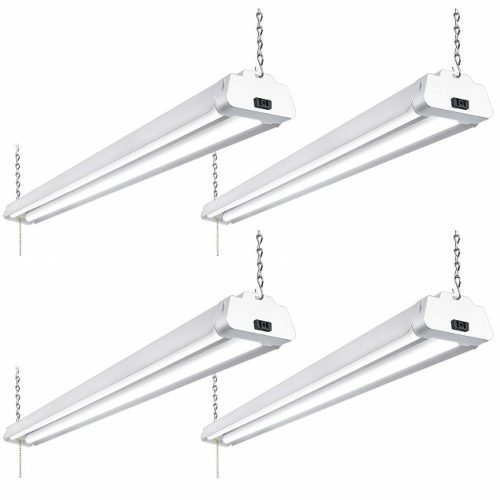 Hykolity 4FT 42W Linkable LED Shop Light with Pull Chain, Hanging or FlushMount Garage Utility Light with Cord, 5000K Workbench Light, 3700lm 64w Fluorescent Fixture Replacement, ETL Listed- 4 Pack
