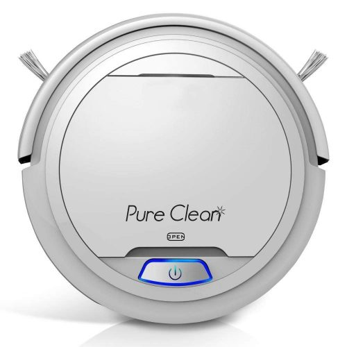 Pure Clean Automatic Robot Vacuum - Robotic Auto Home Cleaning for Clean Carpet Hardwood Floor - Cleaner Bot Self Detects Stairs - HEPA Filter Pet Hair Allergies Friendly - PUCRC25 (White)