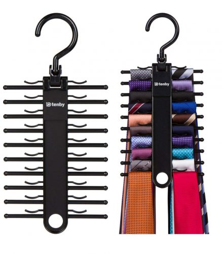 Tenby Living 2-Pack Black Tie Rack, Organizer, Hanger, Holder - Affordable Ti
