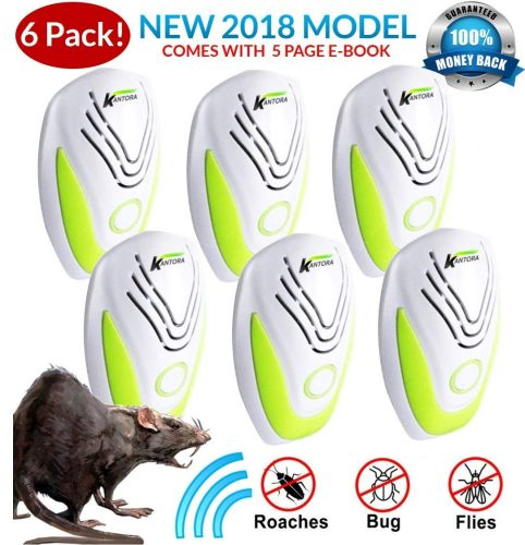 Kantora PEST Control ULTRASONIC Rat Repellent 6-Pack (2018 Best Model) Repeller Plug in Insects, Mice, Rats, Spiders, Fleas, Roaches, Bed Bugs, Mosquitoes, Baby, Pet Safe & Non-Toxic EBOOK