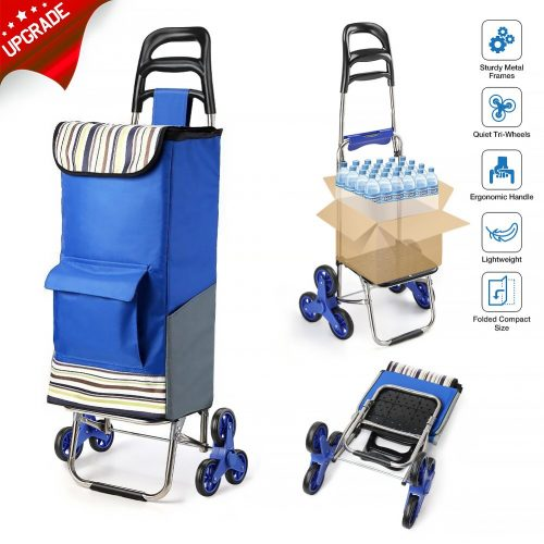 2018 Upgraded Folding Shopping Cart Stair Climbing Cart with Quiet Rubber Tri-Wheels Grocery Utility Cart with Wheel Bearings & Platform for Laundry Basket Loading