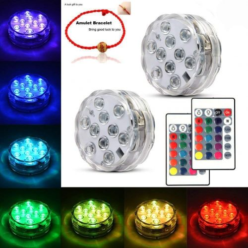 Underwater Submersible LED Lights Waterproof Multi-Color Battery Operated Remote Control Wireless 10-LED Lights for Hot Tub, Pond, Pool, Fountain, Waterfall, Aquarium, Party, Vase Base, Christmas, IP68 2pack