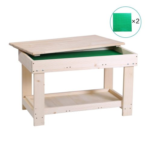 YouHi Kids Activity Table with Board for Bricks Activity Play Table (Double Layer)