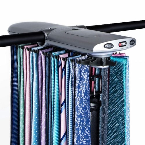 Motorized Tie Rack w/Dual LED Lights - Electric Motor Automatically Rotates Up to 72 Ties & 8 Belts, Includes Mounting Kit for Most Closet Types