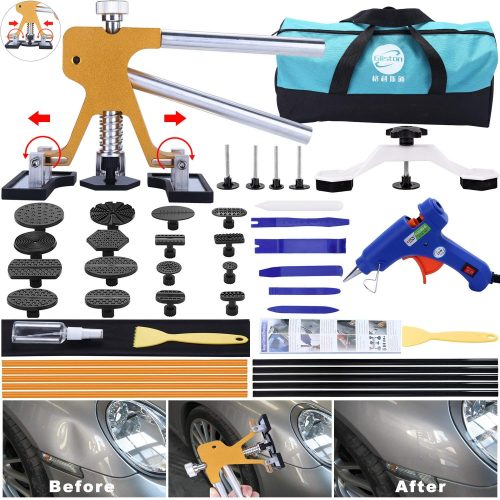 GLISTON 45pcs Paintless Dent Repair Tool Dent Puller Kit, Adjustable Width, Pops a Dent Car Dent Removal Kit, PDR Golden Lifter, Bridge Puller& Glue Gun for Automobile Body Motorcycle Refrigerator